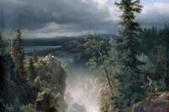 Andreas Achenbach. Torrente - Tecnica: Olio su Tela, 177 x 93,5 cm