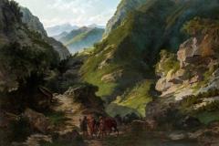 Ademollo Carlo - Viaggiatori in montagna, 1850. Olio su tela, 117.3 x 160.7 cm