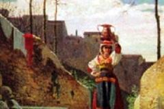 Aldi Pietro - Portatrice d'acqua. Olio su tavola, 39 x 24 cm