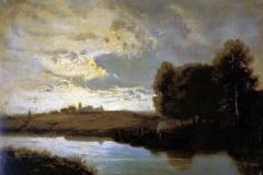 Allason Ernesto - Paesaggio fluviale. Olio su tavola, 27,5 x 40,2 cm. Firma in basso a destra