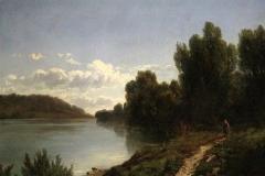 Allason Ernesto - Paesaggio lacustre. Olio su tela, 96 x 72 cm. Firma in basso a destra