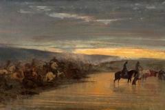 Altamura Saverio - Dopo la battaglia. Olio su tela, 33 x 64 cm. Firma in basso a sinistra