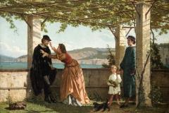 Altamura Saverio - Sotto la pergola. Olio su cartone, 87,5 x 116, 5 cm. Le Grandi Raccolte dell'800 - Collezione GIUSTINIANI(Milano), 1929