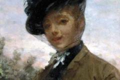 Altamura Saverio - Volto di donna. Olio su tela, 65,5 x 46. Firma in basso a sinistra