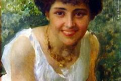 Federico Andreotti. Giovane in Costume Neopompeiano - Tecnica: Olio su Tela, 45 x 35,5 cm