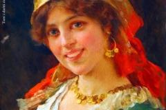 Federico Andreotti. Giovane in Costume popolare - Tecnica: Olio su Tela, 45 x 35,5 cm