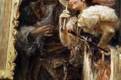 Raffaele Armenise - Esame di un quadro nello studio del pittore. Olio su carta, 50 x 39,5 cm