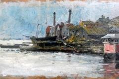 """Natale Attanasio. Barche nel porto. Olio su tavola, 10,5 x 19 cm. Sul retro dipinto raffigurante giovane pescatore e firma """"N. Attanasio"""""""