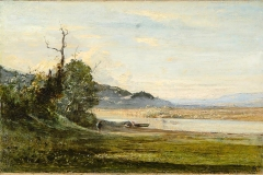 Avondo Vittorio - IIn estate. Quiete. Olio su tela, 34 x 51,5 cm. Firma a monogramma in basso a destra