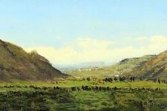 Avondo Vittorio - Paesaggio piemontese, 1862. Olio su tavola, 18 x 30 cm. Firma e data in basso a destra