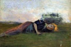 Banti Cristiano - Sull'erba. Olio su tavola, 23,5 x 32,5 cm. Firma in basso a destra