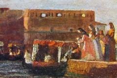 Banti Cristiano - Vecchia Livorno. Olio su tela, 8,7 x 22 cm