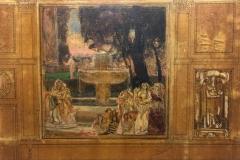 Bargellini Giulio - Bozzetto per decorazione. Olio su tela incollata su cartone, 44 x 55,5 cm. Firmato e dedicato a Piero Scarpa