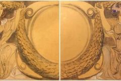 """Bargellini Giulio - Bozzetti per la decorazione di una fontana a Tripoli. Tecnica mista su carta applicata su tela, 119,5 x 150 cm. Ciascuno. Firmati """"XIII G. Bargellini"""" e """"XIV G. Bargellini"""""""