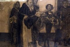 Bargellini Giulio - Savonarola rifiuta gli onori di papa Alessandro VI, 1896. Carboncino su carta incollata su tavola, 104 x 131 cm