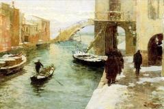 Bazzaro Leonardo - Inverno a Chioggia. Olio su tela. Promotrice di Belle Arti di Genova, 1899