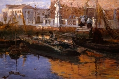 Leonardo Bazzaro -  Un vespro a Chioggia. Olio su tela