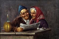 Gaetano Bellei. I Nonni - Olio su tela, 26 x 38,5 cm