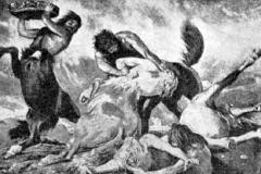 Arnold Böcklin - Lotta di centauri. Olio su tela