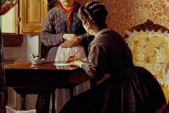 Borrani Odoardo - L'analfabeta, 1869. Olio su tela, 75 x 41,5 cm. Firma e data in basso a sinistra