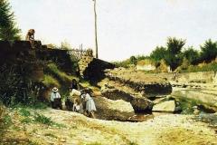 Borrani Odoardo - Il mattino sul torrente Mugnone. Olio su tavola, 45 x 78 cm. Firma in basso a sinistra