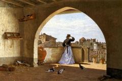 Borrani Odoardo - La mia terrazza, Firenze, 1865. Olio su tela, 54 x 81,5 cm. Firma e data in basso a sinistra