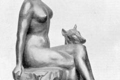 Rembrandt Bugatti. Donna col Cane | Bronzo, Esposta alla Biennale di Venezia del 1910