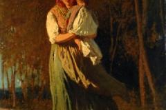 Cabianca Vincenzo - Contadina, 1862. Olio su tela, 57 x 40 cm. Firma e data in basso a sinistra