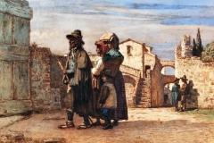 Cabianca Vincenzo - Le figlie del pastore, 1869. Acquarello su carta, 40,8 x 54,8 cm. Firma e data in basso a sinistra