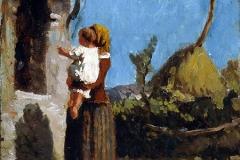Cabianca Vincenzo - Sosta all'edicola. Olio su tavola, 26 x 21 cm. Firma in basso a sinistra