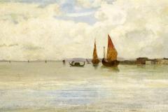 Cabianca Vincenzo - Sulla laguna, Venezia. Olio su tela, 44x 80,5 cm