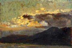 Cabianca Vincenzo - Tramonto. Olio su cartone, 14,3 x 16,6 cm. Firma con iniziali in basso a destra