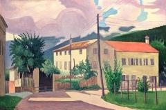 Cagnaccio di San Pietro. Paesaggio con Caseggiati - Olio su Tavola, 20 x 27 cm