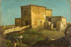 Cammarano Michele - Casolari e contadina. Olio su tela, 32 x 45 cm