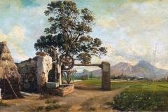 Cammarano Michele - Paesaggio con casolari. Olio su tela, 32 x 55,5 cm. Firma in basso a sinistra