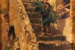 Cammarano Michele - Pastorello sulle scalette. Olio su tela, 40 x 25 cm