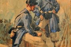 Cammarano Michele - Soldati. Acquarello su carta, 22,2 x 16,4 cm. Firma in basso a destra