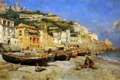 Veduta di Amalfi con barche - Caprile Vincenzo