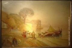 Pescatori a riva con Palazzo Donn'Anna sullo sfondo - Dalbono Eduardo