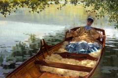 Giuseppe De Nittis. Léontine in canotto - Olio su tela, 24 x 54 cm