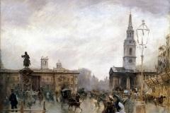 Giuseppe De Nittis. Trafalgar Square - Olio su tela, 41 x 49 cm
