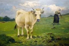 Lorenzo Delleani. Pascolo in Montagna - Olio su Tavola, 30 x 45 cm. Firmato in basso a sinistra