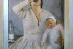Pietro Gaudenzi. Mamma e Bambino - Tecnica: Olio su Tela, 98 x 82 cm. Firmato in basso a sinistra