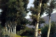 Lorenzo Gelati. Figura fra i Pioppi - Tecnica: Olio su Tela, 23 x 17 cm