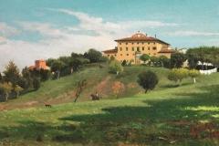 Lorenzo Gelati. Veduta di Villa in Toscana - Tecnica: Olio su Carta Applicata su Cartoncino, 22 x 37,5 cm