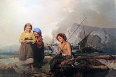 Induno Domenico - Il pescatorello, 1855. Olio su tela, 94 x 116 cm. Firma e data in basso a destra