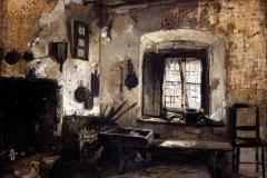 Induno Domenico - Interno di cucina rustica, 1860. Olio su tela, 26 x 34 cm