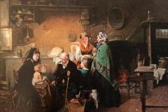 Induno Domenico - La visita alla balia. Olio su tela, cm 75 x 98. Firma in basso a destra