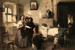 Induno Domenico - Tre donne che leggono una lettera. Olio su tela, 27,5 x 33,5 cm