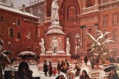 Angelo Inganni. Veduta di Piazza della Scala sotto la Neve, 1878